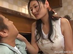 Japanese woman gets fucked hared in a kitchen