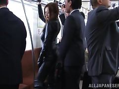 Stunning Japanese girl in latex gets fucked in a train porn video