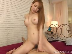 Busty Japanese bitch Claire Hasumi rides a dick after sucking it hotly