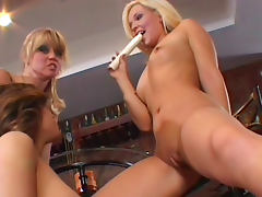 Spicy blonde being fucked by her hardcore brunette sister