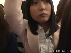 Japanese student gets fucked in an overcrowded bus