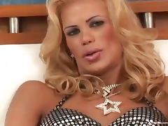 Blonde shemale eat own cum from glass