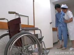 Oiled up Japanese nurse gets nailed on an air mattress