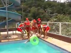Six Tranny LifeGuards GangBanging A Skinny Dude in Distress