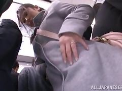 Japanese cutie gets used in the public bus porn video