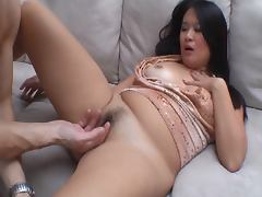 Nasty asian slut gets her hairy pussy pounded