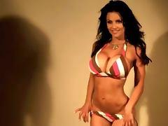 Denise Milani Sexy striped Bikini non nude