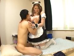 Tsubomi the sexy housemaid gets laid on a bed