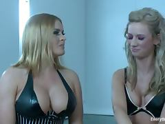 Two stunning blonde girls toy their asses and gets pounded