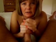 Mature Handjob On the Bed