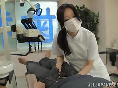 Sexy Japanese dentist has an amazing sex with a client