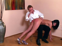 Stunning big ass babe Honey Lovel is getting spanked