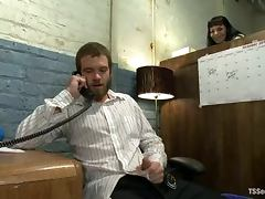 Jesse Carl gets his ass fucked hard by brunette shemale TS Foxxy