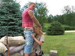 Outdoors Fucking for Blonde's Swollen Pussy and Tight Asshole
