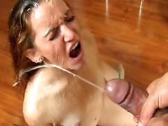 Balls sucking and blowjob by a spectacular beunette
