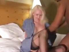 Blonde in black stockings fucked by black lovers Camaster