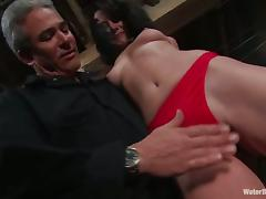 Brunette Gretchen Elvgren gets spanked and hosed