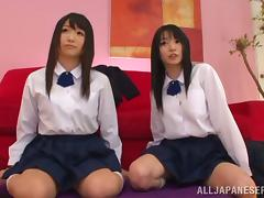 POV threesome with two cute Japanese schoolgirls