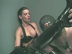 Boy Friend in mask engulfing on his Femdom Goddess' boots