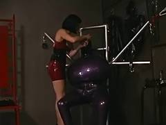 Lesbos perform hardcore SADOMASOCHISM with masks and latex