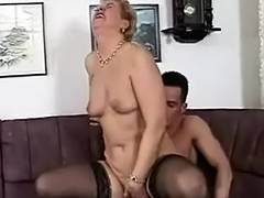 Little Breasted Granny in Lace Top Nylons Bonks
