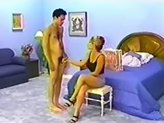 Boyfrend spanked in pants by super sexy golden haired