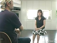 Amazing Asian siren gives a nice head to her man
