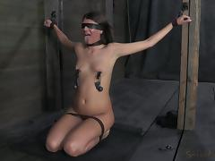 blindfolded, tied and ready to get fucked