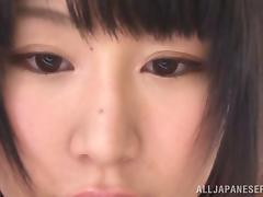 Pretty Akari Ozaki sucks a cock and gets her tits fondled