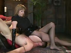 Naughty Maitresse Madeline Handjobs Tied Up Dude after Pegging him