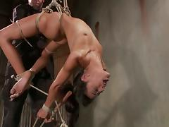 Lyla Storm enjoys being bound and tortured in a basement porn video
