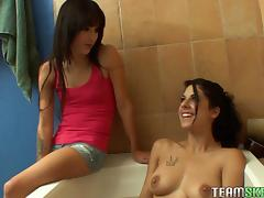 Caught, Bath, Brunette, Caught, Cousin, Fingering
