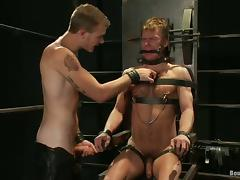 Tied Up Dude in Gay BDSM Bondage video Sucking Cock