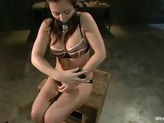 That huge strapon dildo charges Beverly's twat with electrodes