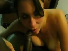 Horny white girl Sucking big Black Cock