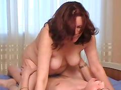 Stepmom with saggy tits and guy have a position 69 porn video