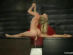 hot ass flexible blonde fucked by a machine porn video