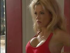 Gorgeous blonde lifeguard deep throats a thick hard cock porn video
