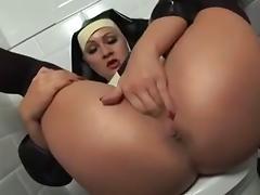 Nun, Fingering, Masturbation, Nun, Stockings