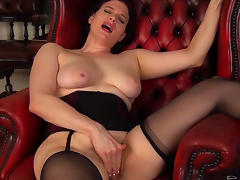 All, Brunette, Curvy, Lingerie, Masturbation, Sofa