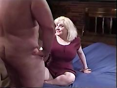 Fat blond hussy rides dick in her cunt