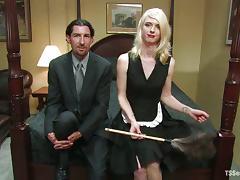 Skinny blonde tranny Mandy Mitchell pounds Omar's hot ass