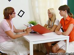 Two teen girls and their mature teacher in lesbian threesome