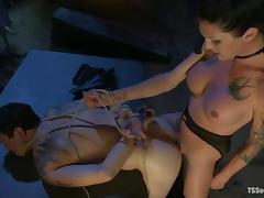 Tied up Derrick gets pounded in the ass by hot tranny