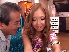 Japanese bitch allows some old dude finger and toy her hot cunt