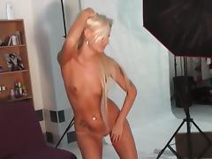 Long haired blonde czech sucks cock