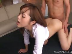 Asian Slut Yuu Namiki Getting Fucked while Taking Facial Cumshots