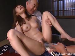 Two men use a lot of sex toys to play with RIna's vagina