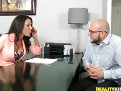 Sexy brunette with big boobs rides big dick in an office