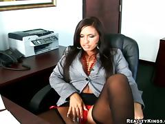 Big tittied Lexxy blows a dick and gets nailed in an office